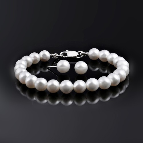 AAA Qualty Sweet Water Pearl Bracelet-Studs Set-White
