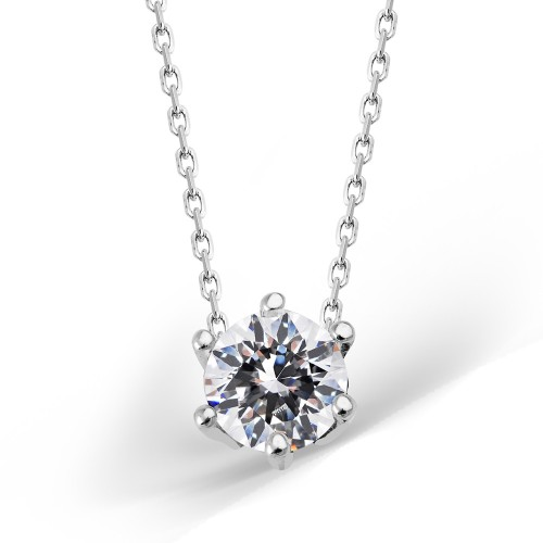 Solitaire Silver Necklace With Swarovski Stone