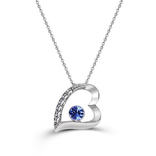 Swarovski Element 7 Hearts Necklace-Blue