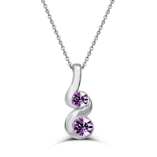 Swarovski Element Double Round Necklace-Purple