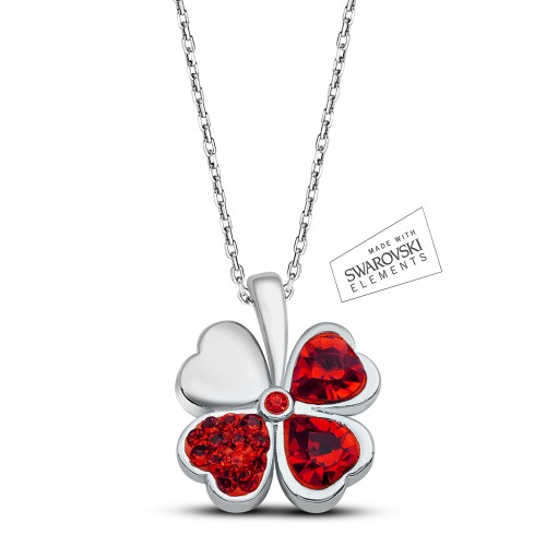 Swarovski Element Lucky Clover Pendant - Red