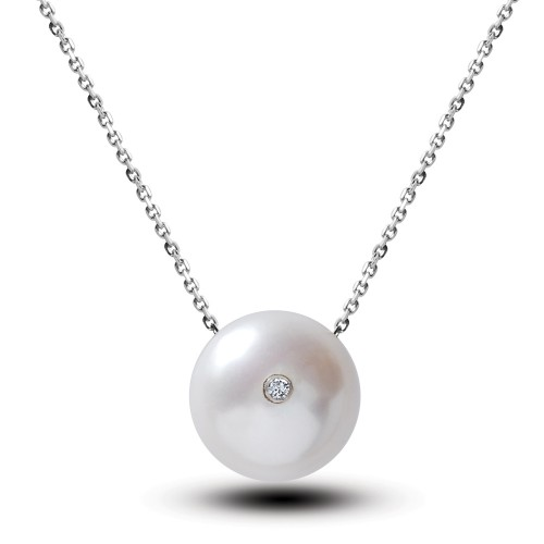 Sweet Water Pearl 0,02ct  Diamond  Pendant