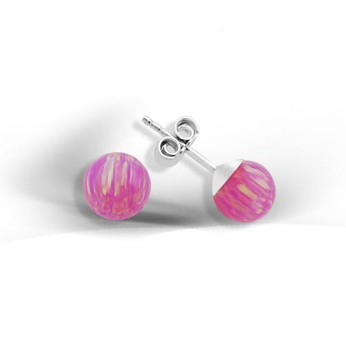 Ball Shape Pink Opalite Stone Earring