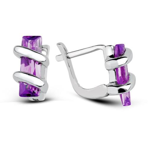 Baguette Cut Ametist Colour Stone Earring