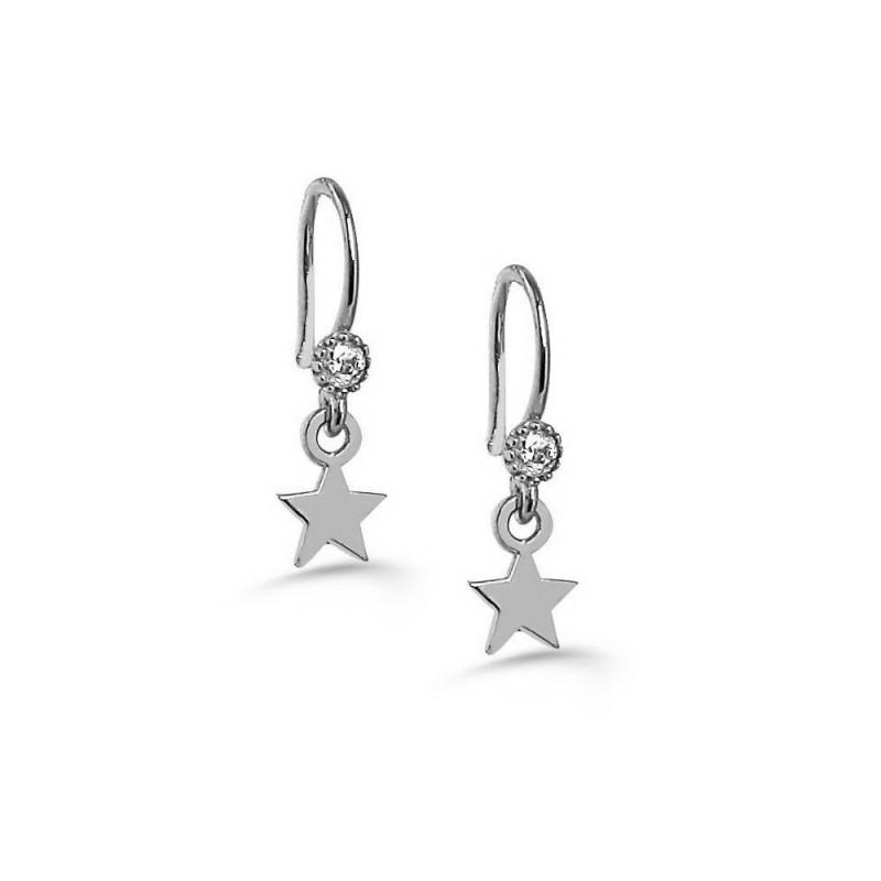 New Trendy Star Shape White Gold Plated Earring