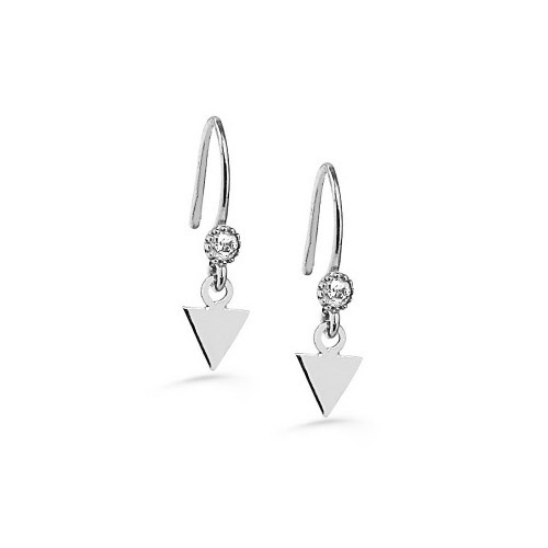 NEW TRENDY TRIANGLE SHAPE WHITE GOLD PLATED EARRING