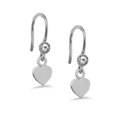 New Trendy Heart  Shape White Gold Plated Earring