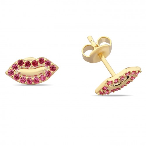 Lip Earring Red Stone- Gold