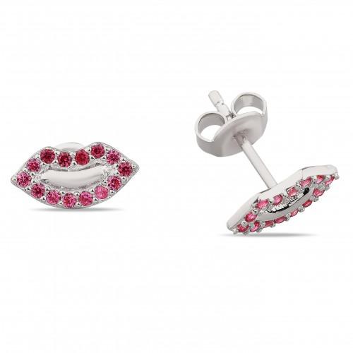 Lip Earring Red Stone- White