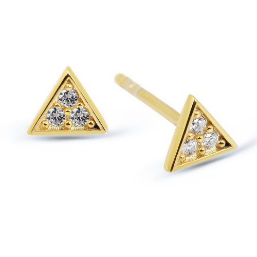 Triangle Studs-White Stone-Gold