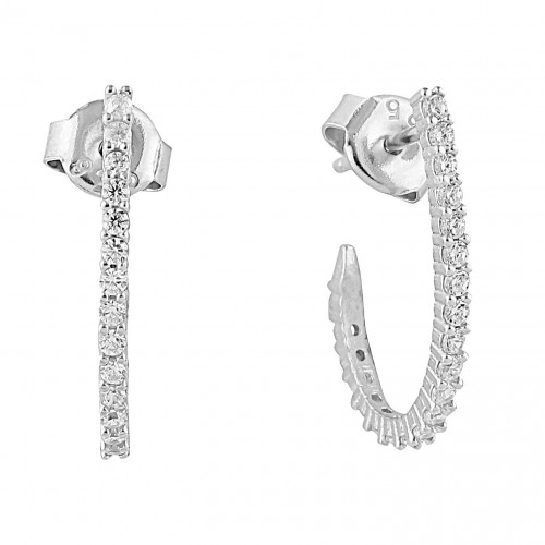 Side Setting Earring- White Gold Plated