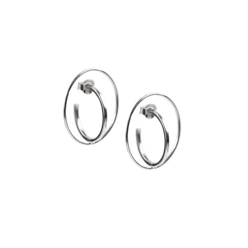 Hand Made Double Hoops White Gold