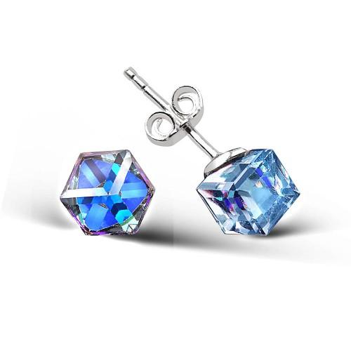 Swarovski Cube Studs - Sapphire Color