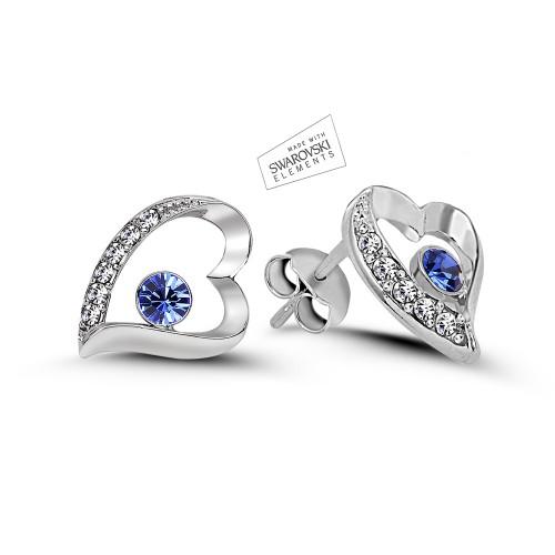 Swarovski Element 7 Hearts Earrings - Blue