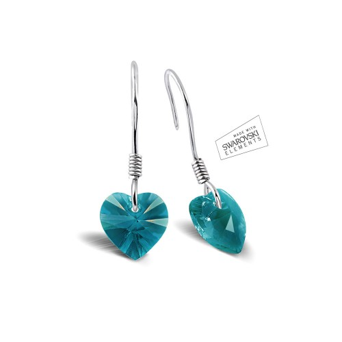 Swarovski 3D Blue Color Heart Earring