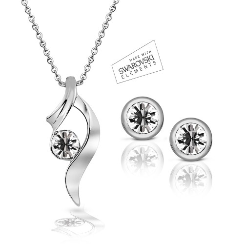 Swarovski Element Summer Bliss Pendant & Classic Studs Set - White