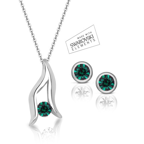 Swarovski Element Leaf Pendant & Classic Studs Set - Emerald