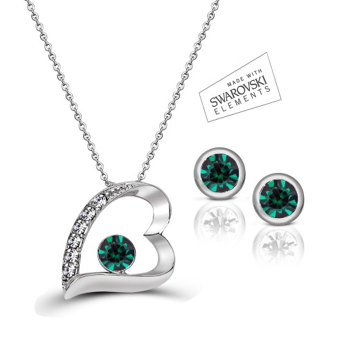 Swarovski Element 7 Hearts & Classic Studs Set - Green