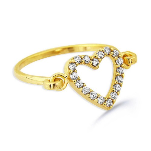 Hand Made Trendy Heart Ring-Gold