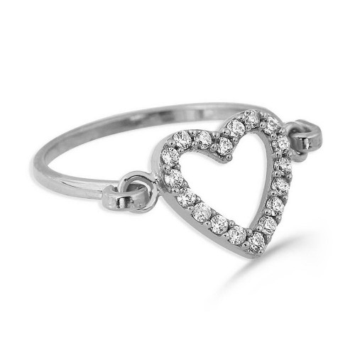Hand Made Trendy Heart Ring-White