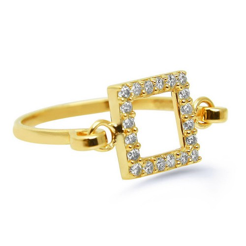 Hand Made Trendy Square Ring-Gold