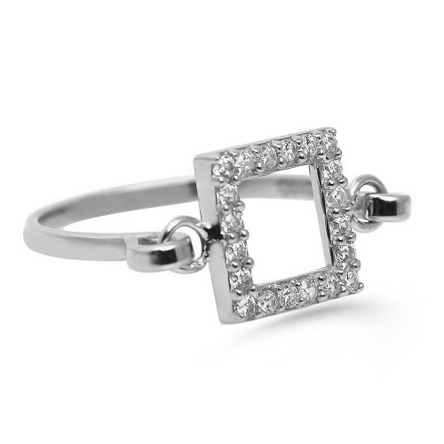 Hand Made Trendy Square Ring-White