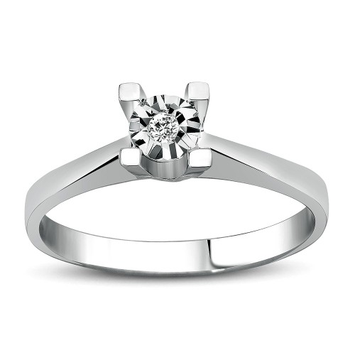 0,50Crt Effect Diamond Ring-Silver
