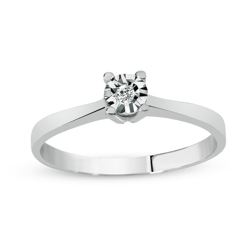 0,50Crt Effect Diamond Ring-Silver