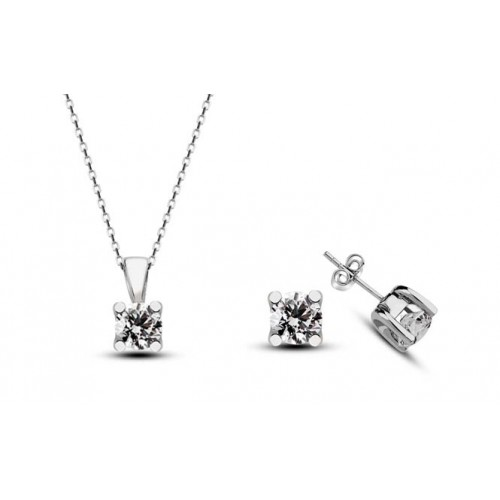 0,15 CT H-I / SI Diamond  Necklase & Earring 10 K White Gold Set