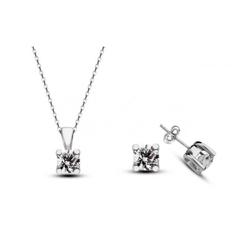 25 CT H-I / SI Diamond Necklase & Earring 10 K White Gold