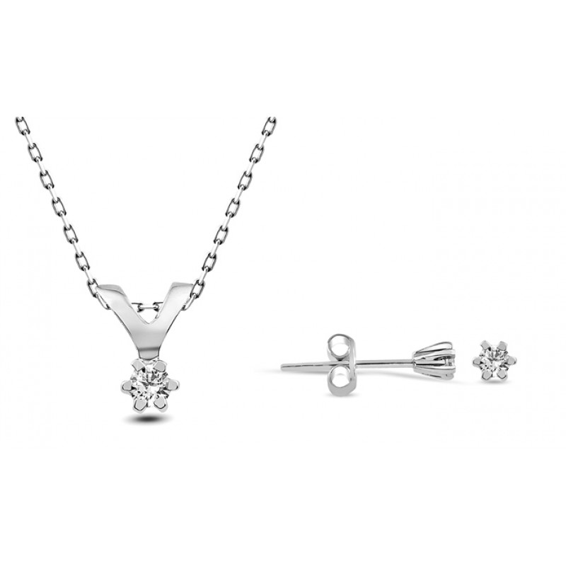 09 CT 6 Prong Diamond 10 K White Gold Set