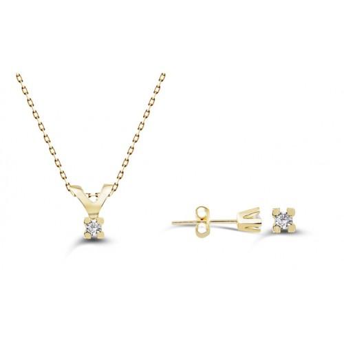 0,06 CT 4 Prong Diamond 10 K Yellow Gold Set