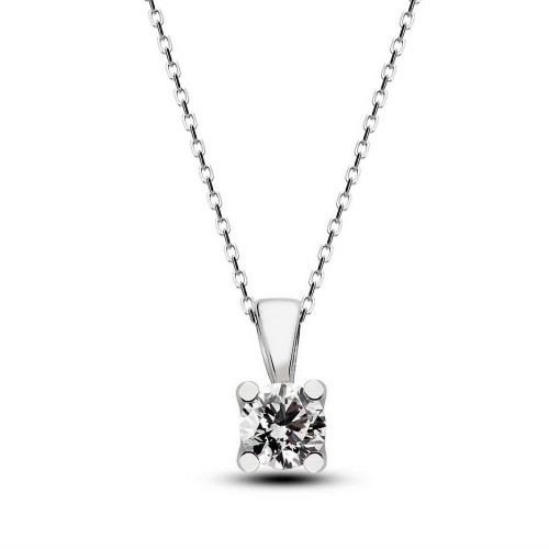 0,10 CT H-I / SI Diamond - Silver Necklace