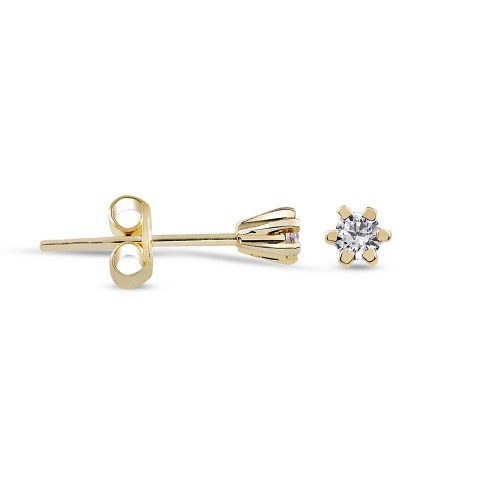 0,06 Crt 6 Prong Diamond -10 K Yellow Gold Studs