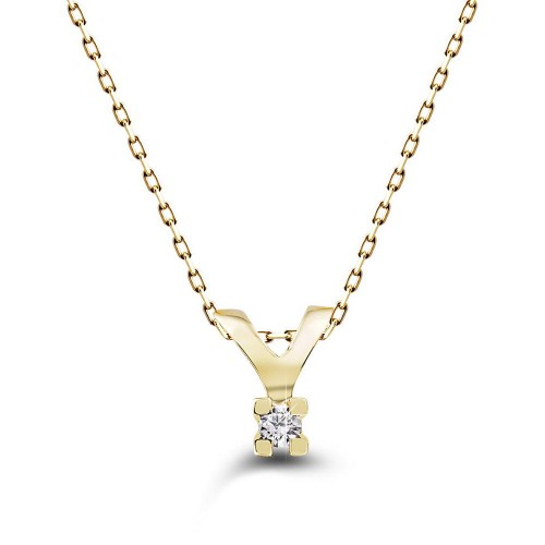 0,02 Crt 4 Prong Diamond -10 K Yellow Gold Necklace