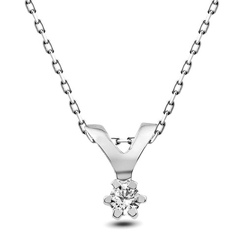 0,03 CT 6 Prong Diamond - Silver Necklace