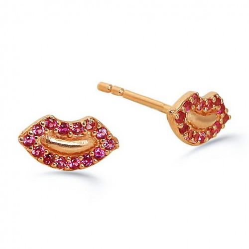 Lip Earring Red Stone- Rose