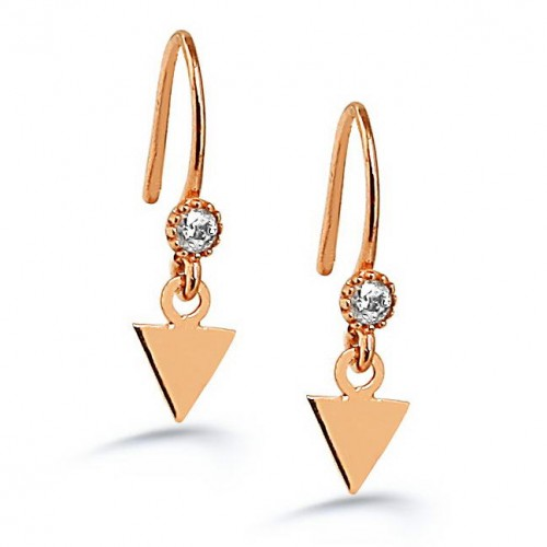 NEW TRENDY TRIANGLE SHAPE ROSE GOLD PLATED EARRING
